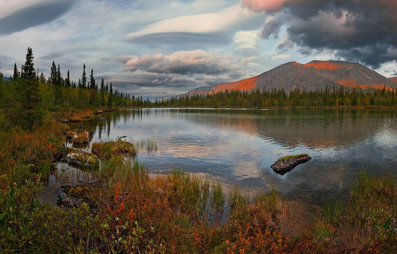 Photo wallpaper autumn, clouds, landscape, sunset, mountains, nature, lake, vegetation, Khibiny, The Kola Peninsula, Vladimir Ryabkov