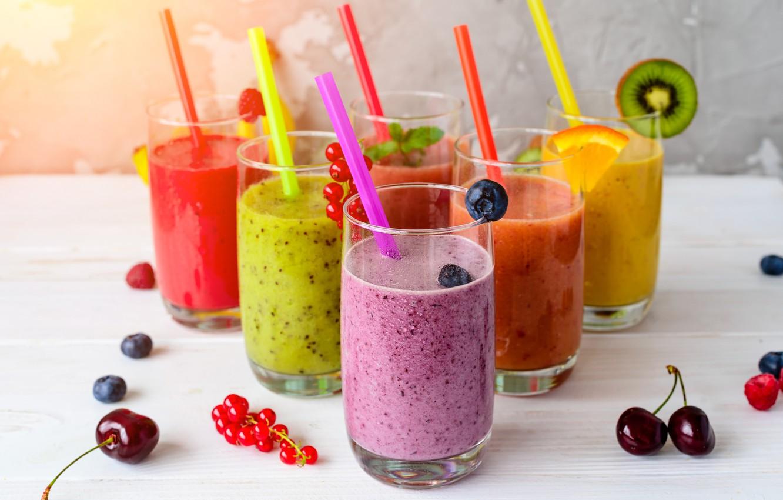 Photo wallpaper cherry, berries, Breakfast, kiwi, fruit, drinks, smoothies