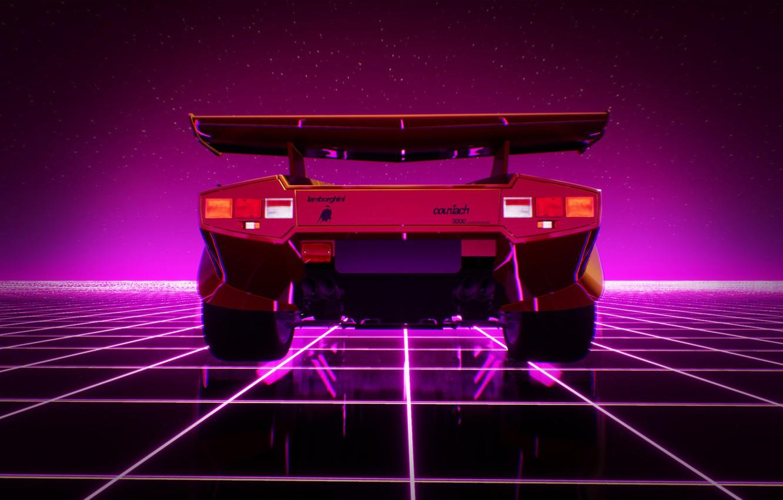 Wallpaper Lamborghini, Machine, Graphics, 80s, Neon ...