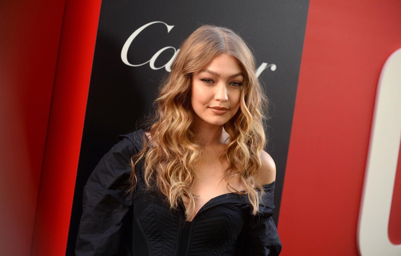 Photo wallpaper smile, model, curls, Gigi Hadid