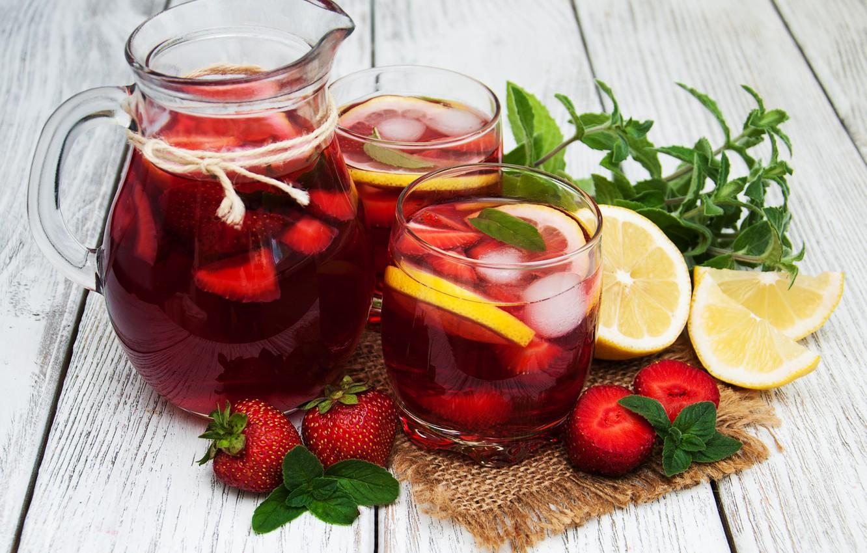 Photo wallpaper berries, lemon, glasses, drink, pitcher, lemonade, ice cubes