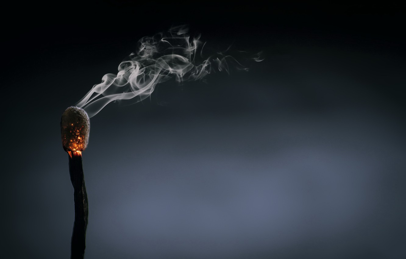 Photo wallpaper background, smoke, match