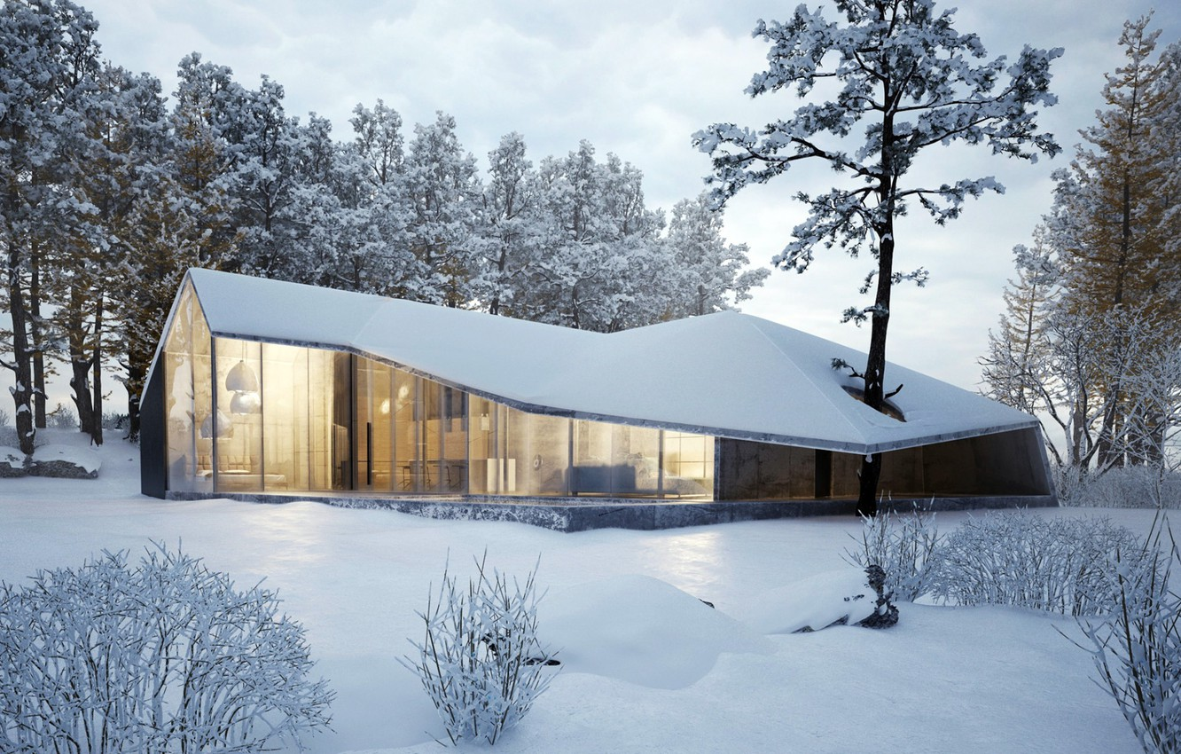Photo wallpaper winter, snow, trees, house, house, forest, architecture, cottage, modern, winter, modern, cottage, modern design, Architecture