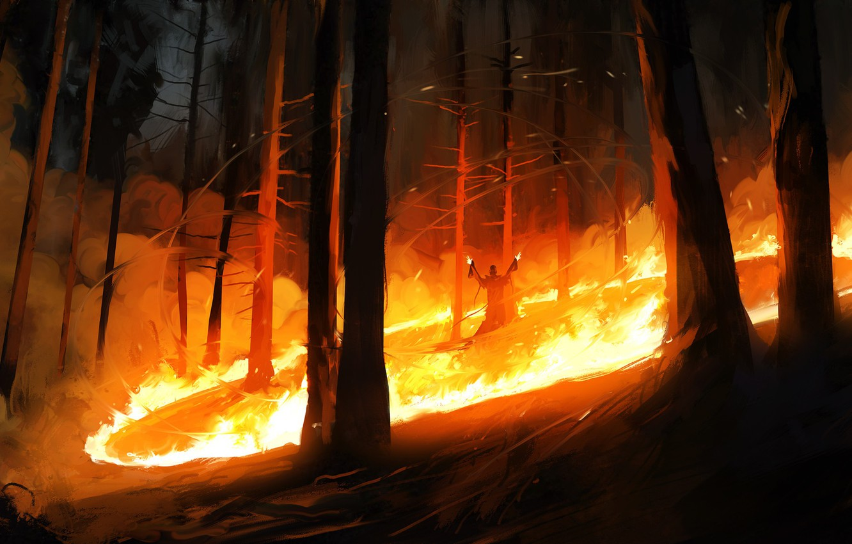 Photo wallpaper Figure, Fire, Forest, The demon, Fantasy, Art, Illustration, Demon, Priest, Dominik Mayer, Environments, by Dominik …