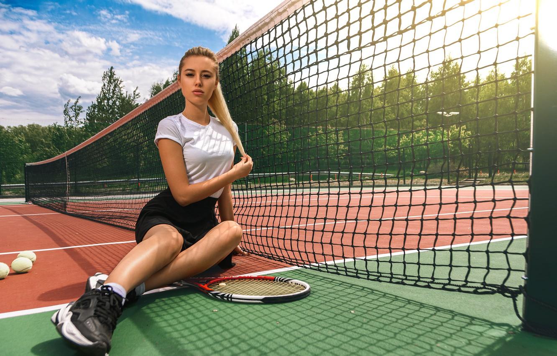 Photo wallpaper mesh, blonde, racket, sitting, court, Margo, Dmitry Medved