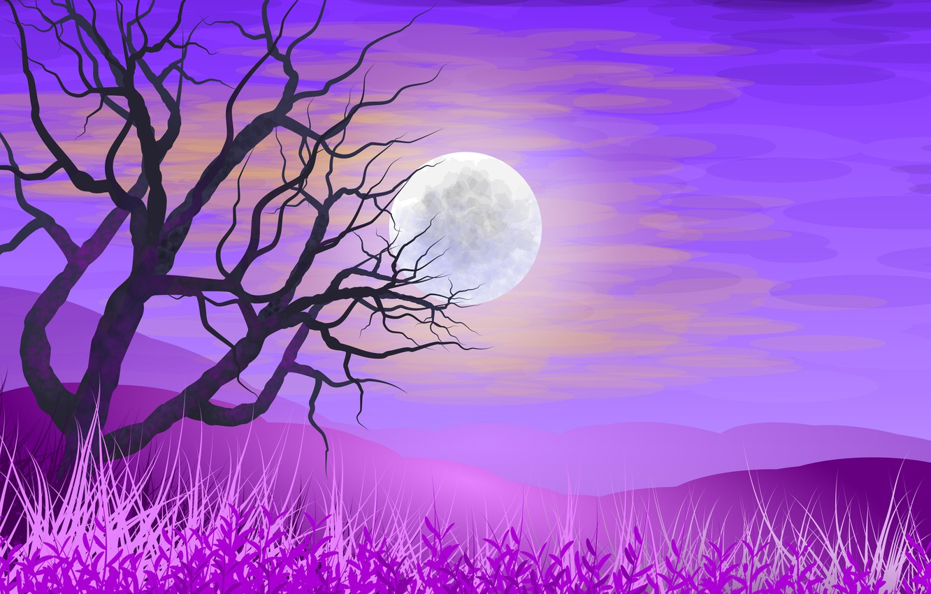 Photo wallpaper the sky, grass, tree, The moon, vector graphics