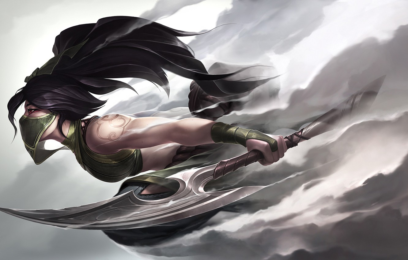 Wallpaper Girl Art Rogue Assassin Riot Games Akali League Of