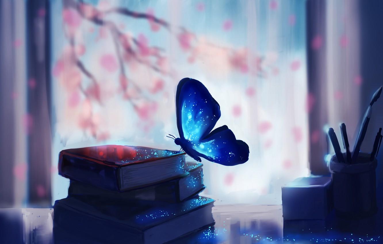 Photo wallpaper fantasy, magic, art, butterfly, macro, glare, books, miscellaneous, blurred background
