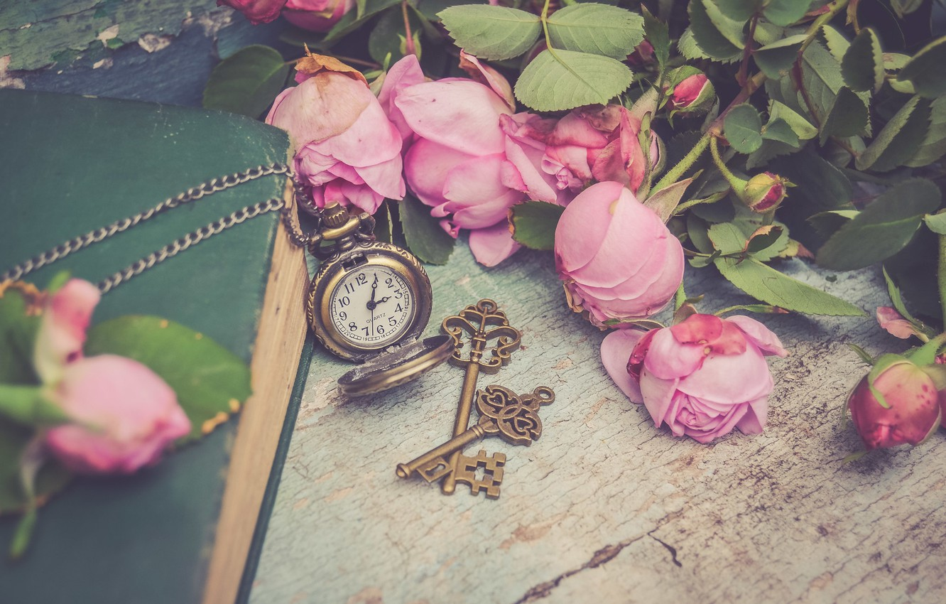 Photo wallpaper flowers, style, watch, roses, book, pink, keys, buds