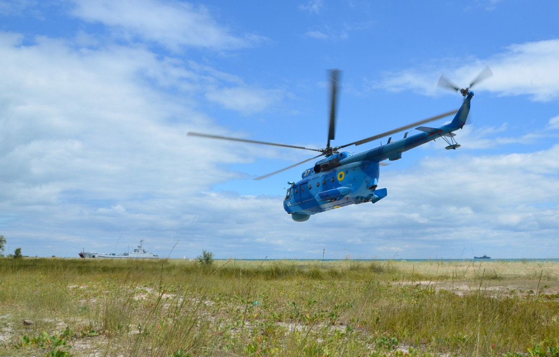 Photo wallpaper Grass, Ship, Helicopter, Ukraine, Anti-submarine helicopter, Ukrainian Navy, The Ukrainian Navy, The project 773, Medium …