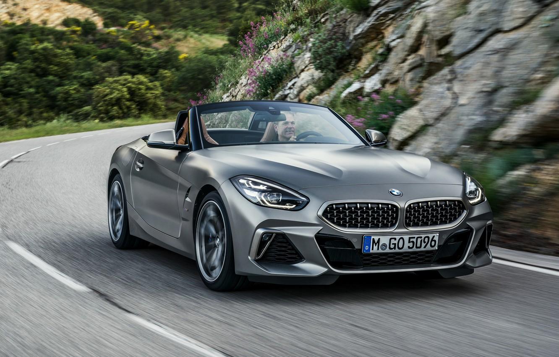 Photo wallpaper road, stones, grey, markup, vegetation, BMW, slope, Roadster, BMW Z4, M40i, Z4, 2019, G29