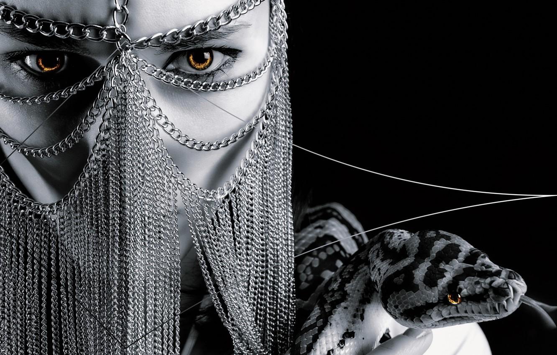 Photo wallpaper girl, background, snake