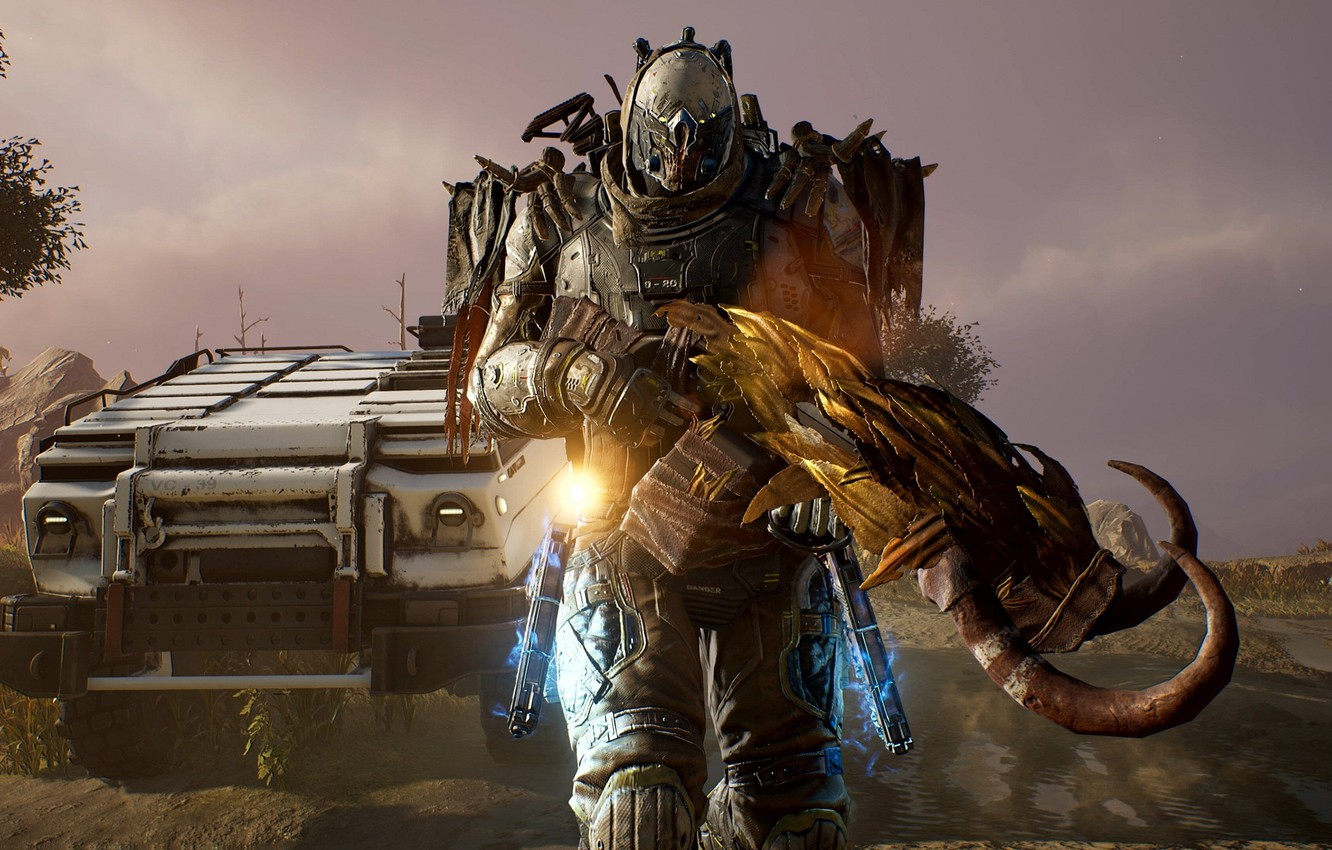 Photo wallpaper weapons, the game, robot, Outriders