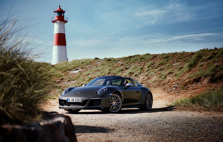 Photo wallpaper lighthouse, Porsche, 4x4, Biturbo, Targa, special model, 911 Targa 4 GTS, Exclusive Manufaktur Edition