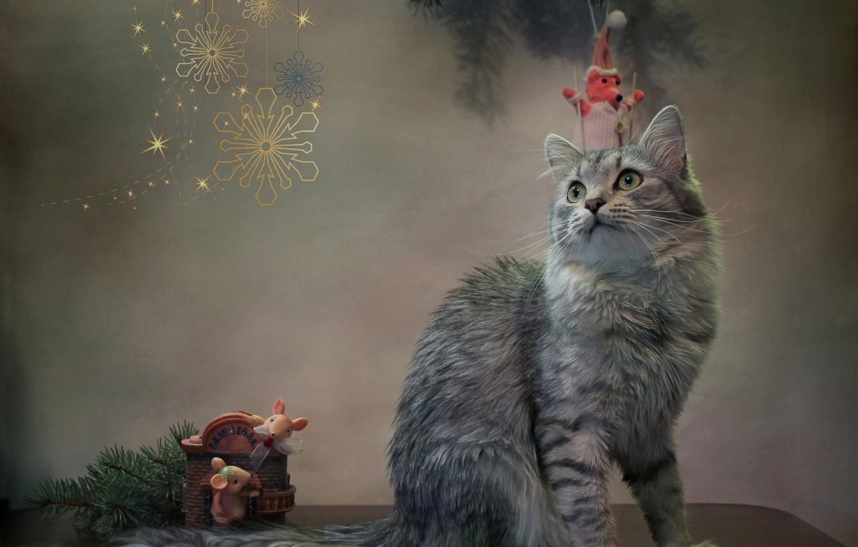 Photo wallpaper cat, cat, snowflakes, animal, new year, spruce, branch, mouse, figures, Kovaleva Svetlana, Svetlana Kovaleva