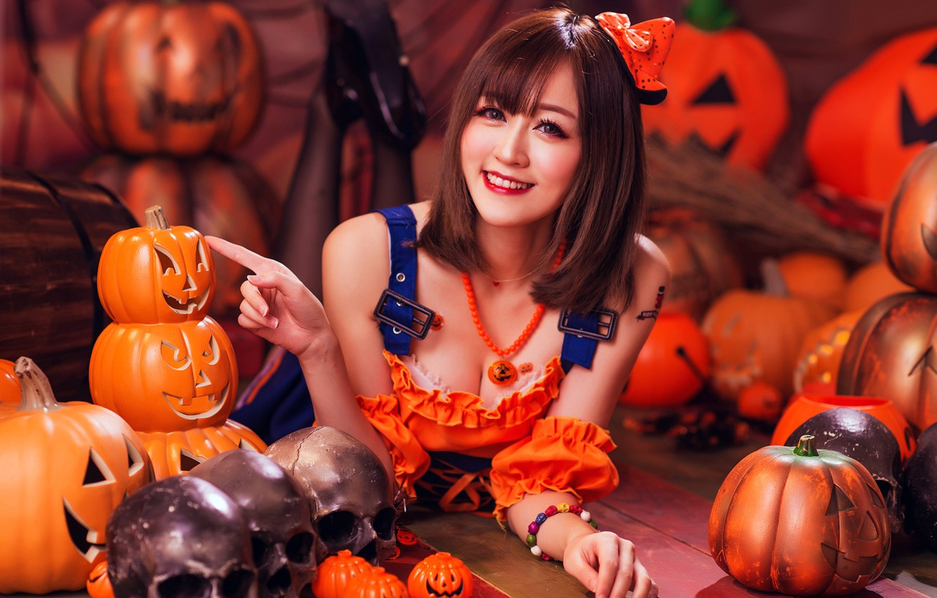 Photo wallpaper autumn, girl, face, smile, style, background, holiday, costume, outfit, pumpkin, skull, image, Asian, Halloween, photoshoot, …