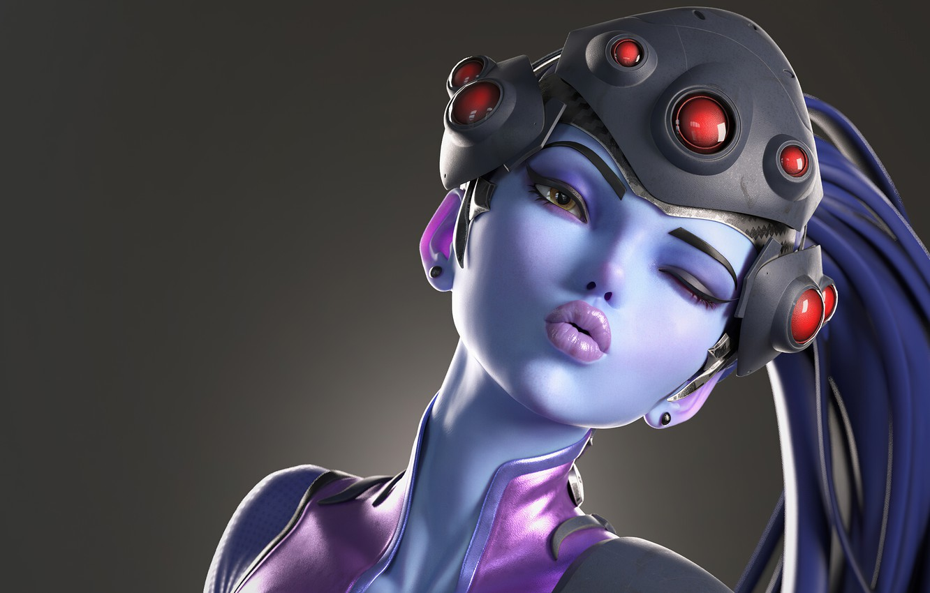 Photo wallpaper girl, fiction, kiss, art, Overwatch, Widowmaker