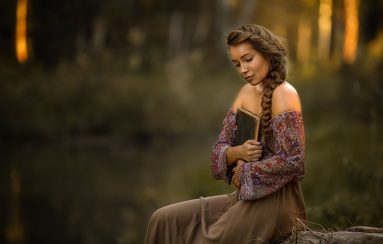 Photo wallpaper look, girl, pose, book, sitting, shoulders, Masha, Alex Darash