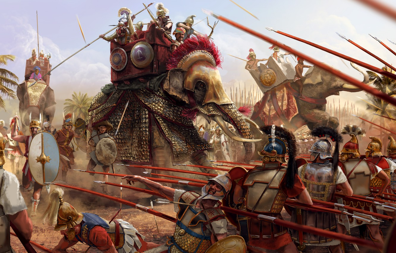 Photo wallpaper death, weapons, attack, elephant, armor, battle, warrior, soldiers, Battle