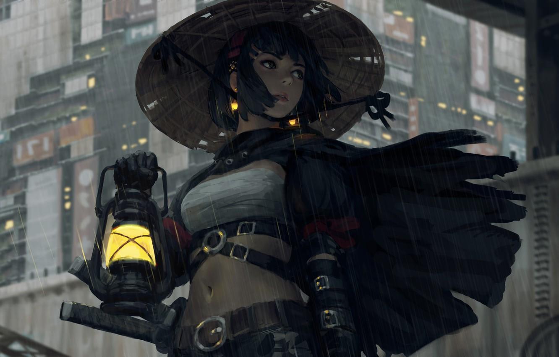 Photo wallpaper girl, sword, fantasy, rain, hat, katana, samurai, digital art, artwork, warrior, building, fantasy art, lantern, …