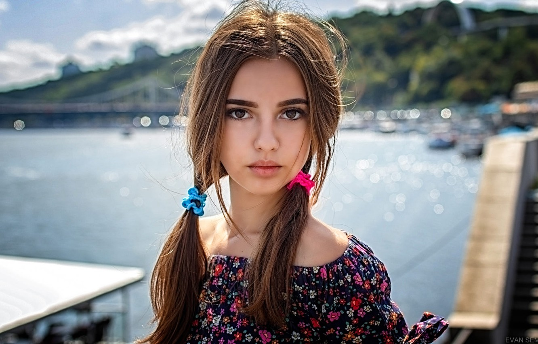 Photo wallpaper look, the sun, landscape, river, model, portrait, makeup, hairstyle, braids, brown hair, beauty, bokeh, Monika, …