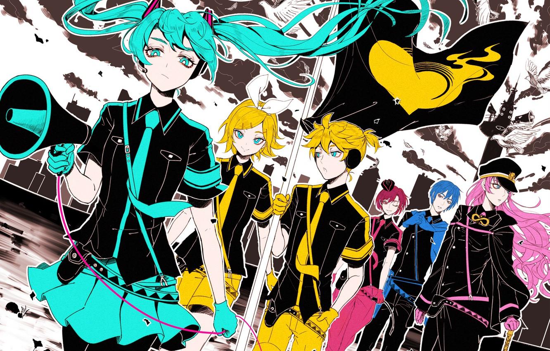 Photo wallpaper flag, Vocaloid, Vocaloid, characters, Rin, Hatsune Miku, Len