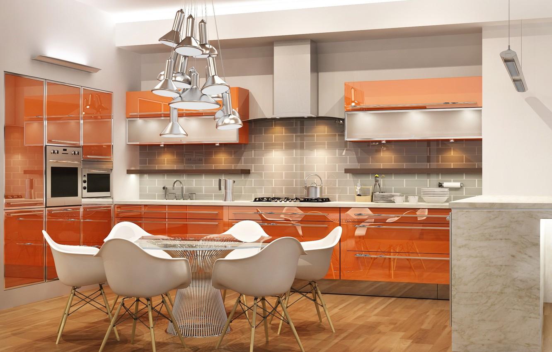 Photo wallpaper design, table, furniture, chairs, interior, kitchen, chandelier