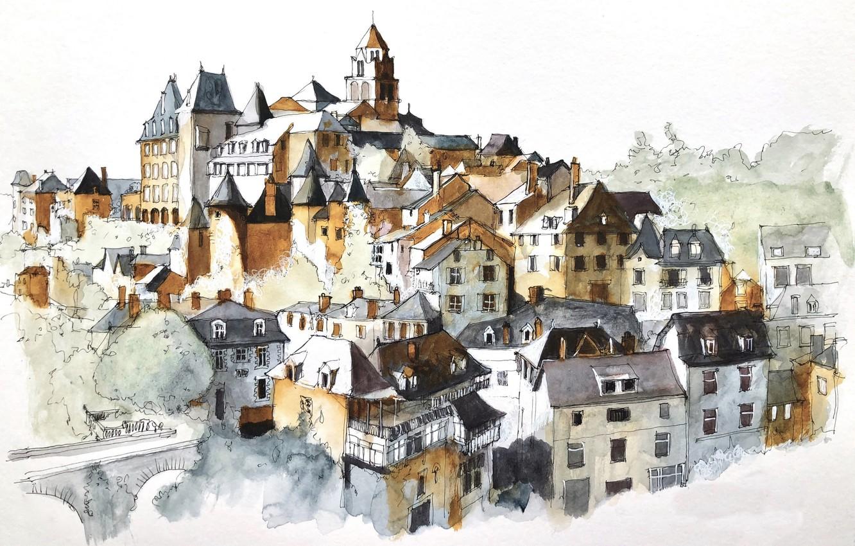 Photo wallpaper figure, New Aquitaine, Arrondissement of Tulle, Uzerche