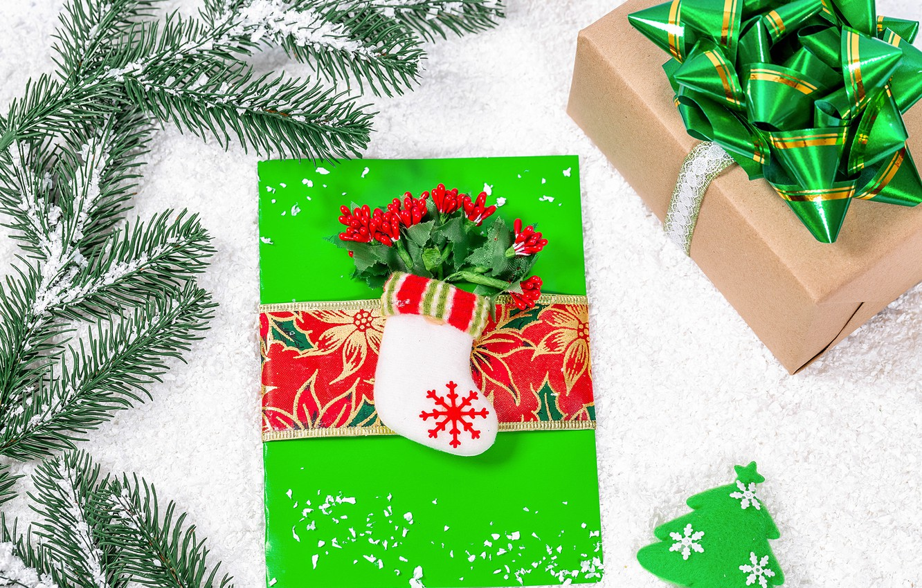 Photo wallpaper branches, gifts, New year, needles, box