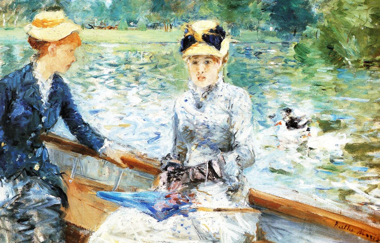 Photo wallpaper lake, girls, picture, Summer day, Berthe Morisot, Berthe Morisot