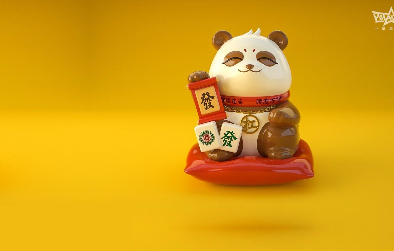 Photo wallpaper the game, art, Panda, Mahjong, Lucky Panda, Jane Ye