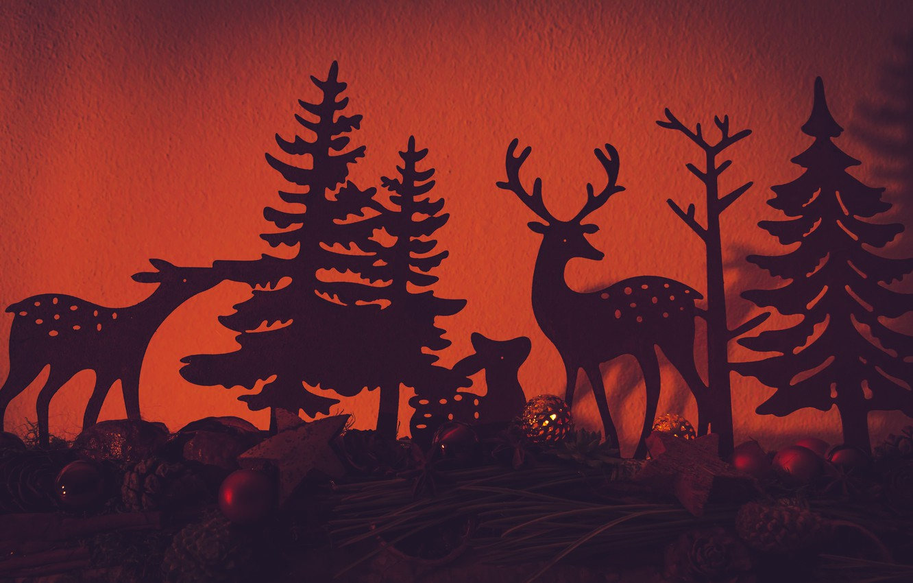 Photo wallpaper balls, branches, holiday, Christmas, New year, orange background, deer, silhouettes, bumps, figures, Christmas decorations, composition, …