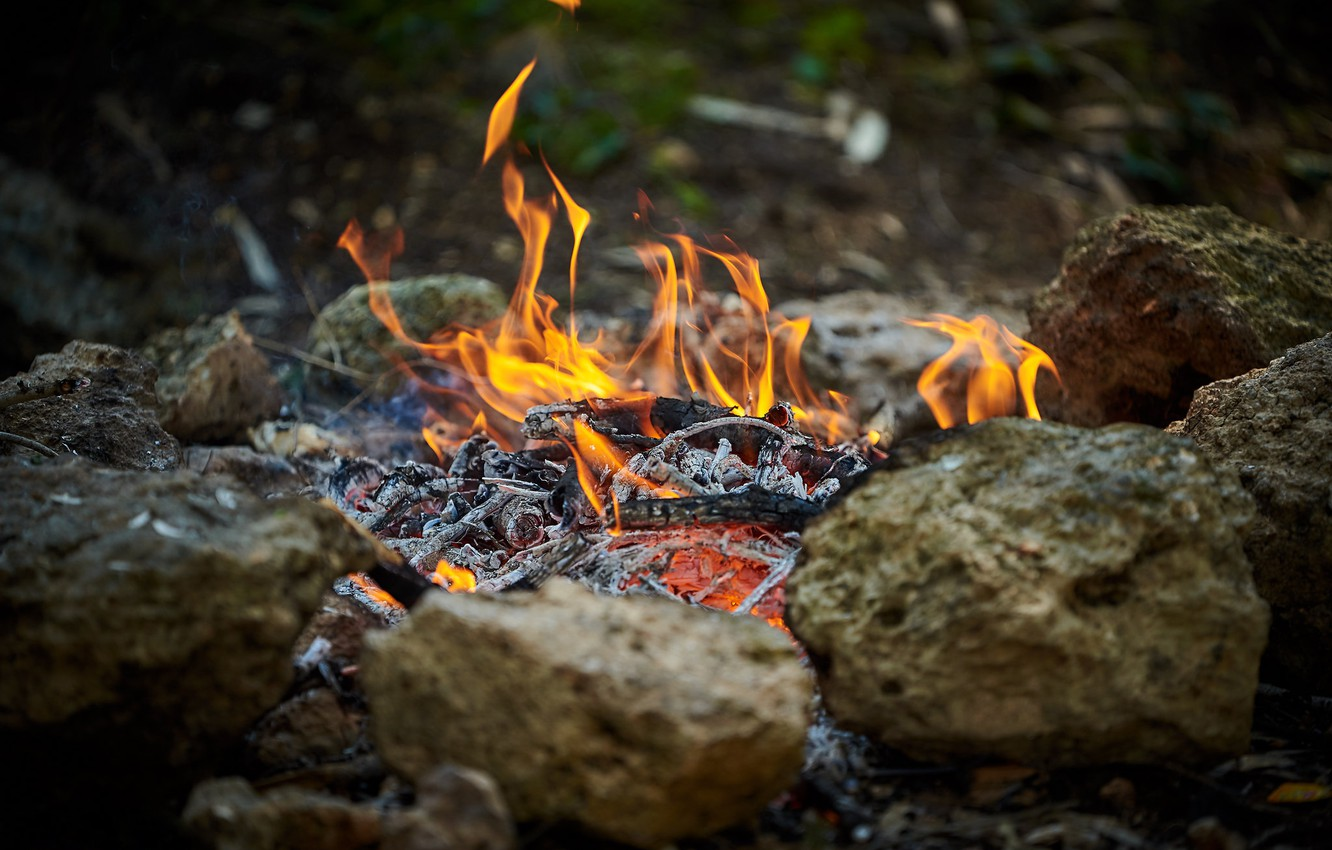 Photo wallpaper nature, stones, fire, flame, the fire, coal, the fire