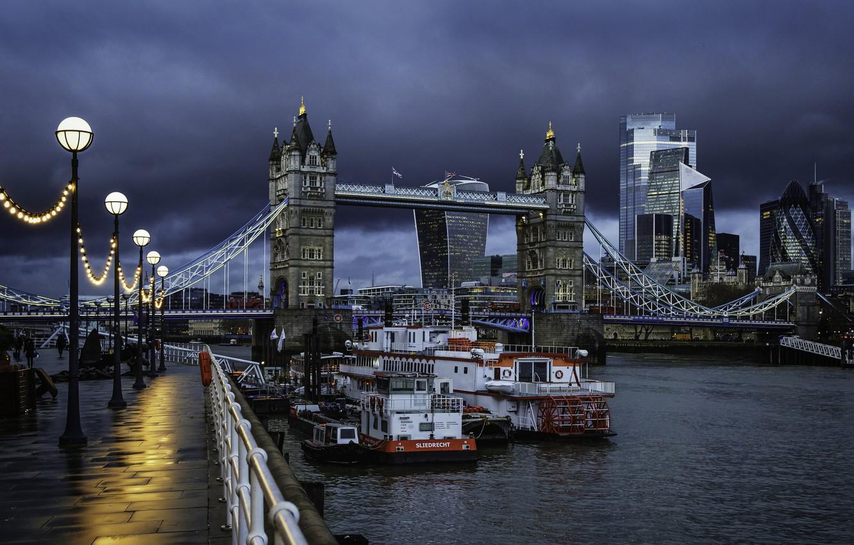 Photo wallpaper clouds, the city, river, England, London, building, lights, UK, Thames, tower, twilight, Tower bridge, promenade, …