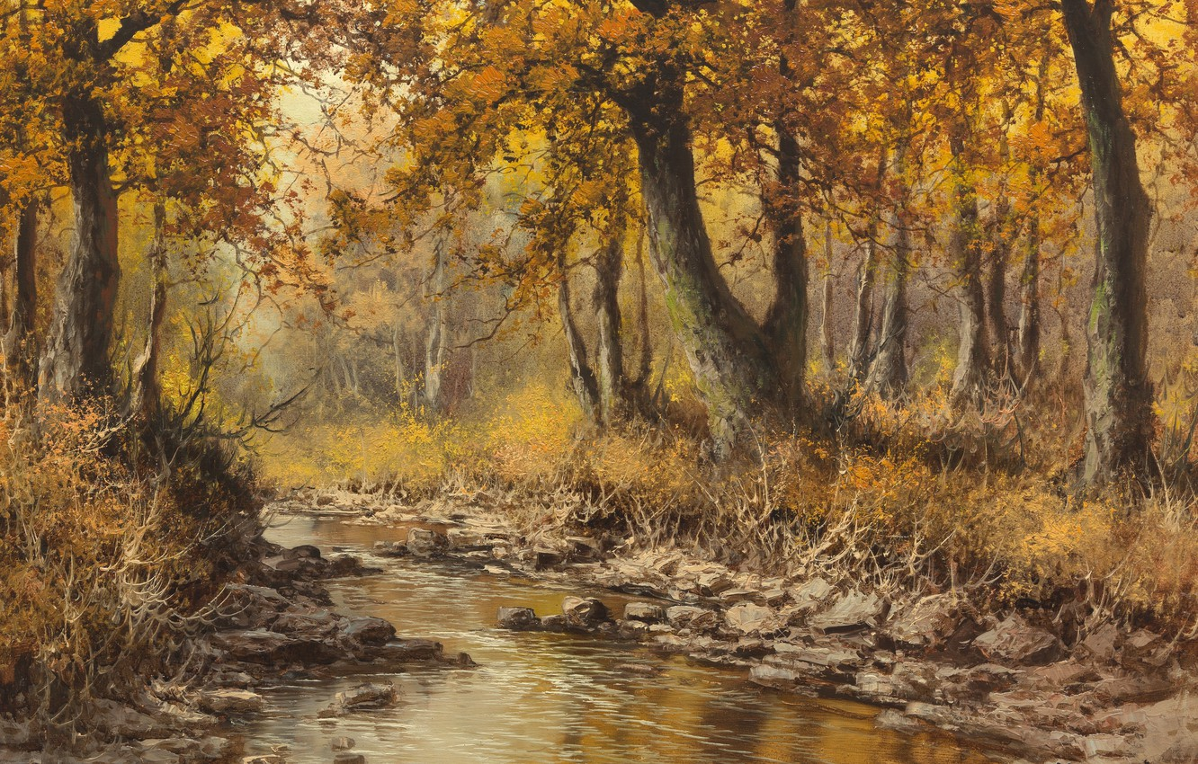 Photo wallpaper Laszlo Neogrady, vengerskii painter, Autumn landscape with river, Hungarian painter, Laszlo Nogradi, Autumn landscape with …