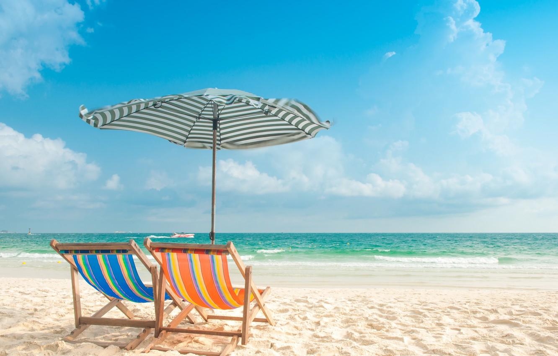 Photo wallpaper sand, sea, wave, beach, summer, chaise, summer, beach, sea, blue, seascape, sand, wave