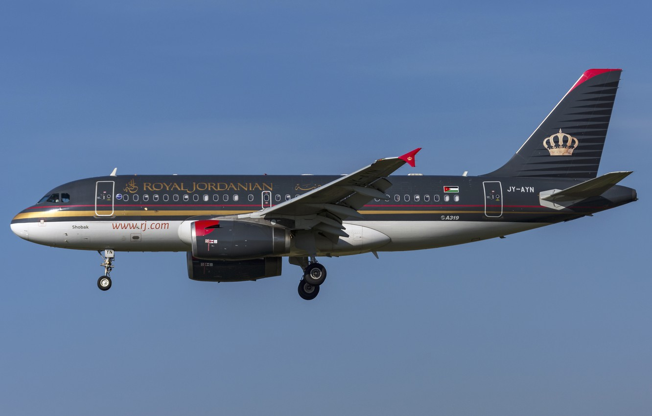 Photo wallpaper Airbus, A319-100, Royal Jordanian