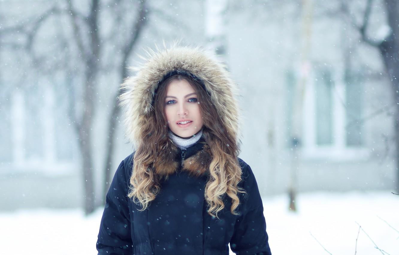 Photo wallpaper girl, snow, fur, Christina, Evgeny Bulatov