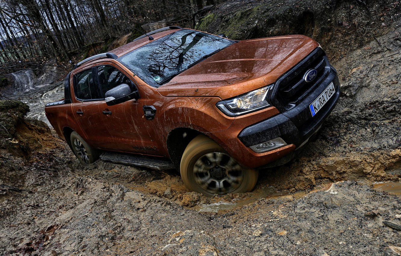 Photo wallpaper forest, water, trees, Ford, dirt, track, pickup, Ranger, ditch, Wildtrak