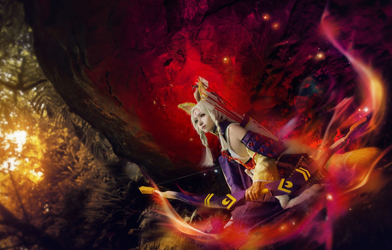 Photo wallpaper forest, look, girl, light, red, bright, pose, style, weapons, fire, lilac, hair, stone, color, bow, …