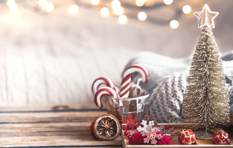 Photo wallpaper decoration, lights, tree, Christmas, New year, christmas, wood, vintage, bokeh, decoration