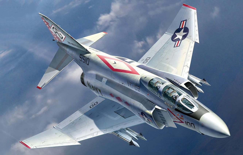 Photo wallpaper USA, fighter-bomber, fighter-interceptor, multi-role fighter, McDonnell Douglas, F-4 Phantom, US NAVY, Auletta, advanced deck, USN …