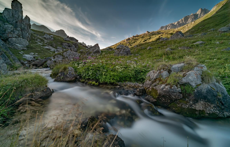 Photo wallpaper mountains, stones, France, river, Savoie