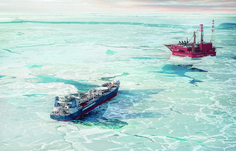 Photo wallpaper The ship, Tanker, Приразломная, Печорское море, Михаил Ульянов, Шельф