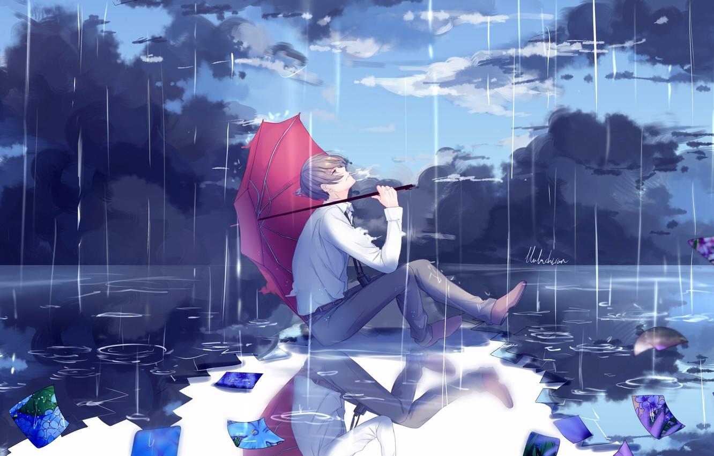 Photo wallpaper nature, rain, umbrella, anime, art, guy, lluluchwan