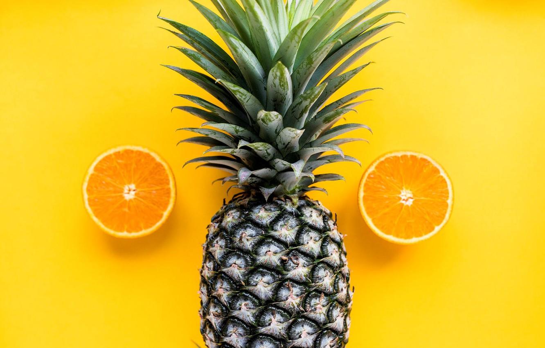 Photo wallpaper background, orange, pineapple
