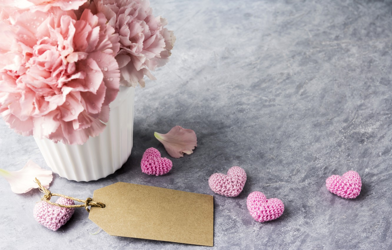 Photo wallpaper flowers, gift, mug, hearts, love, pink, pink, flowers, beautiful, cup, romantic, hearts, gift, clove, carnation