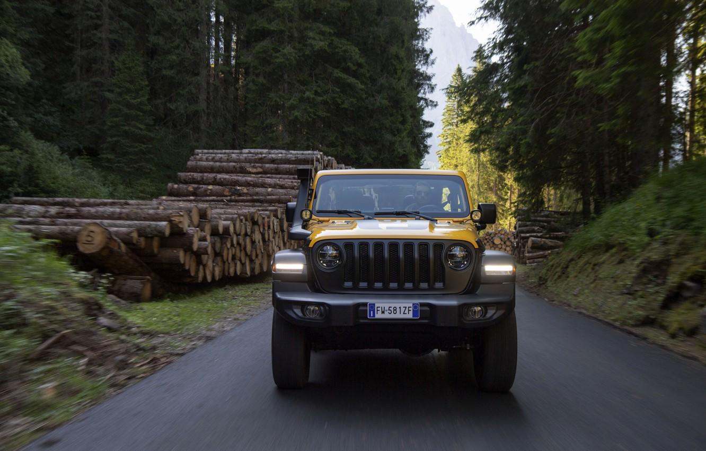 Photo wallpaper yellow, SUV, logs, 4x4, Jeep, Mopar, 2019, Wrangler Rubicon 1941