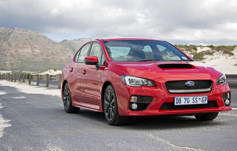 Photo wallpaper Subaru, WRX, Red, Road