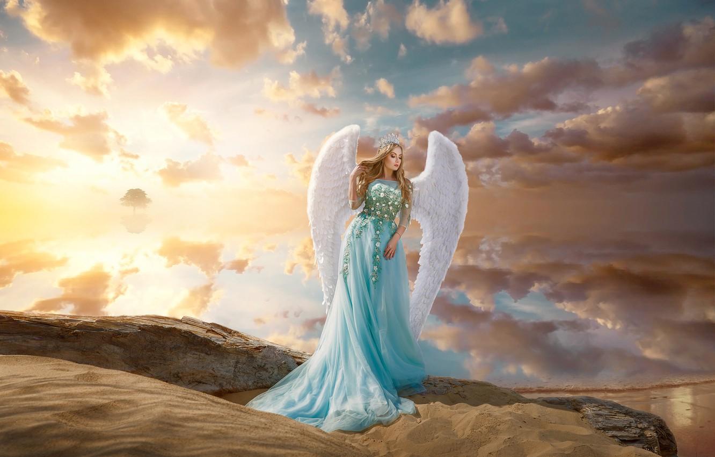 Photo wallpaper sand, girl, clouds, pose, style, mood, wings, angel, dress, Renat Khismatulin